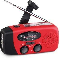 Radio solaire AM FM NOAA avec Flash light et power Bank 59€